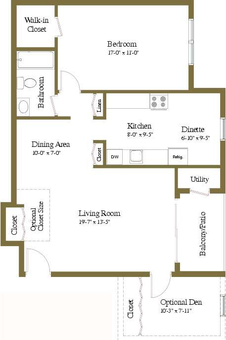 1 bedroom 1 bathroom with den floor plan at Woodridge Apartments in Randallstown, Maryland
