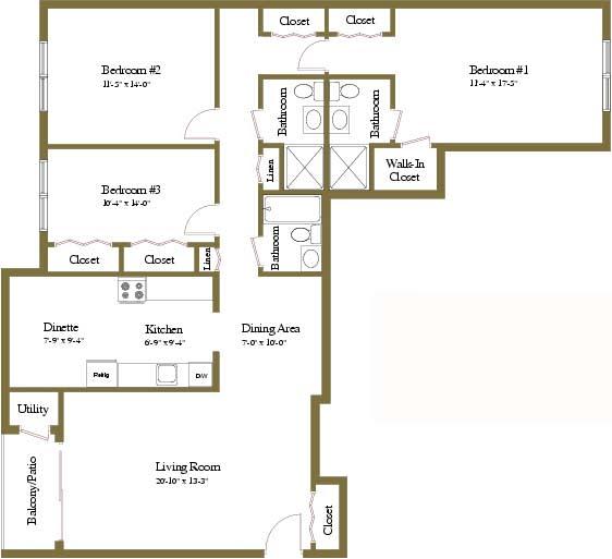 3 bedroom 3 bathroom floor plan at Woodridge Apartments in Randallstown, Maryland