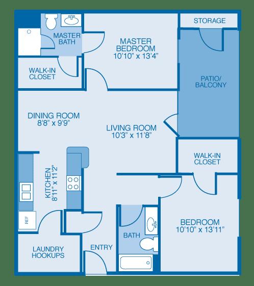 Floor Plan  Birchwood Floor Plan at Maple Brook Apartments, Louisville, KY