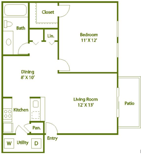 Floor Plan  1 bed 1 bath D