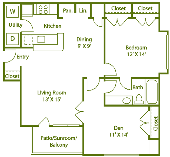 Floor Plan  1 bed 1 bath I