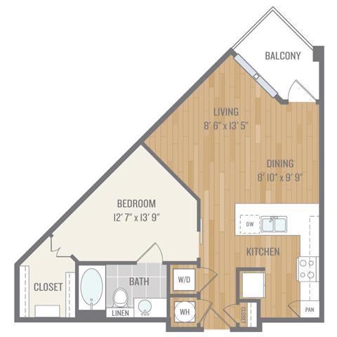 Floor Plan  One-Bedroom Floor Plan at Berkshire Auburn, Dallas, TX