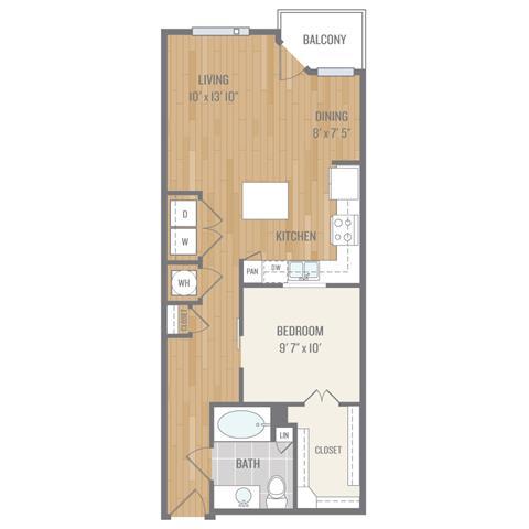 Floor Plan  One-Bedroom Floor Plan at Berkshire Auburn, Dallas, Texas