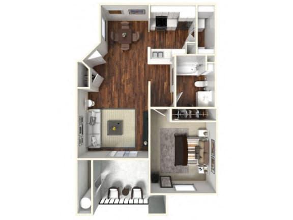 Floor Plan  One bedroom Floor Plan apartments for rent in Rocklin