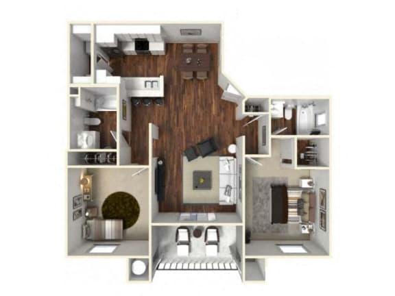 Floor Plan  Two bedroom apartments Floor Plan for rent in Rocklin