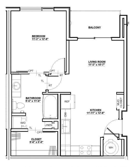 Linden Floor Plan at Cycle Apartments, Ft. Collins,Colorado