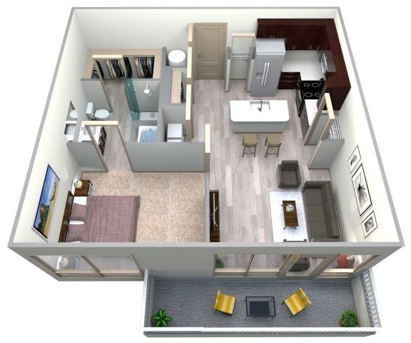 Floor Plan  Aqua Floor Plan at Azure Houston Apartments, Houston, TX, 77007