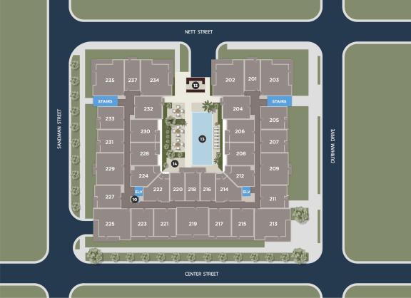 Midnight Floor Plan at Azure Houston Apartments, Texas