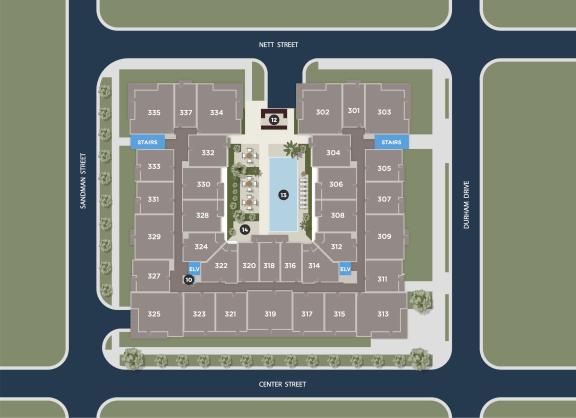 Midnight Floor Plan at Azure Houston Apartments, Texas, 77007