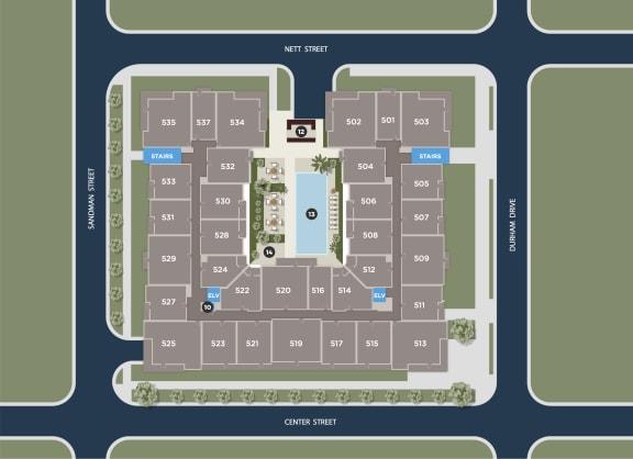 Aqua Floor Plan at Azure Houston Apartments, Houston, 77007