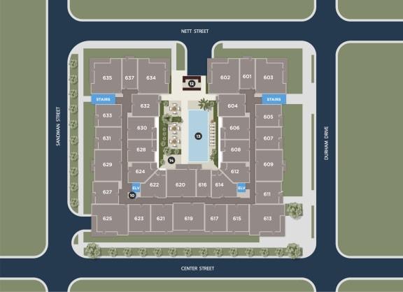 Midnight Floor Plan at Azure Houston Apartments, Houston, 77007