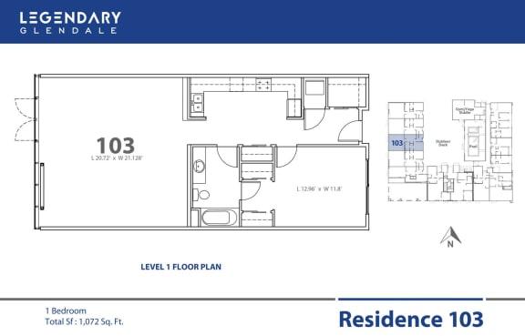 Floor Plan  Floor Plan 103 in Legendary Glendale Luxury Apartment Community, 91203
