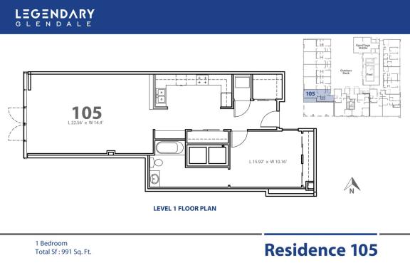 Floor Plan  Floor Plan 105 in Legendary Glendale, Modern Apartments in Glendale, 300 N Central Ave