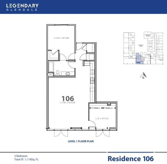 Floor Plan  Legendary Glendale Floor Plan 106, at