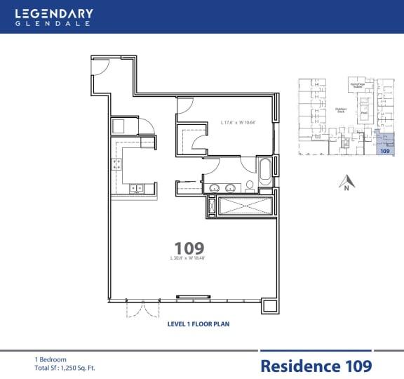 Floor Plan  Legendary Glendale Floor Plan 109 at Apartments in 91203