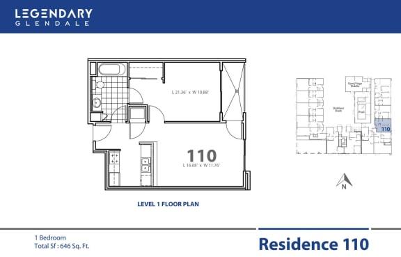 Floor Plan  Floor Plan 110 at Legendary Glendale Luxury Apartment Homes on 300 N Central Ave