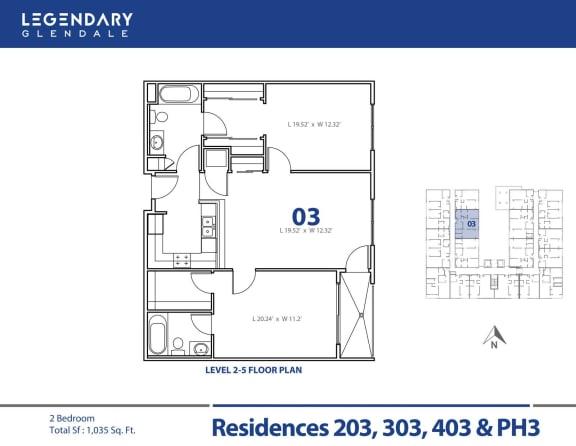 Floor Plan  Legendary Glendale Floor Plan 03 in Glendale, CA, 300 N Central Ave