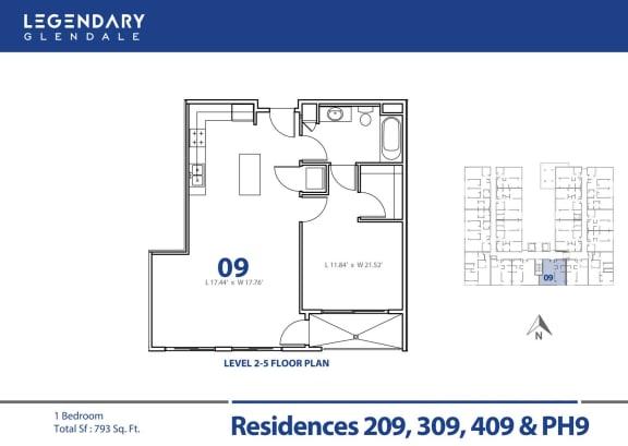 Floor Plan  Floor Plan 09 at Luxury Apartments in Glendale, California, Legendary Glendale