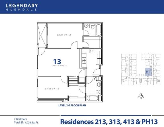 Floor Plan  Floor Plan 13 at 300 N Central Ave, Legendary Glendale Luxury Apartments in Glendale, CA