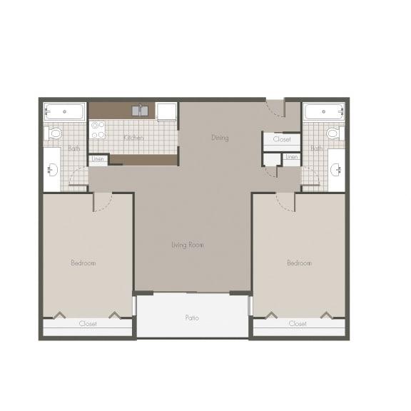 Floor Plan  Kalahari 2BR/BH Floor plan at Desert Creek, New Mexico, 87107