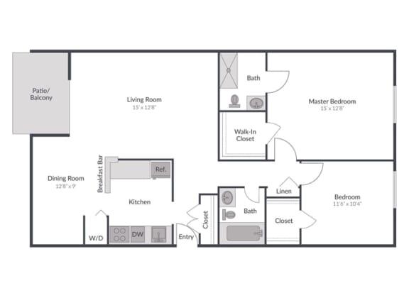 Floor Plan  2 Bedroom 2 Bath Floor Plan at The Brook at Columbia, Columbia, MD
