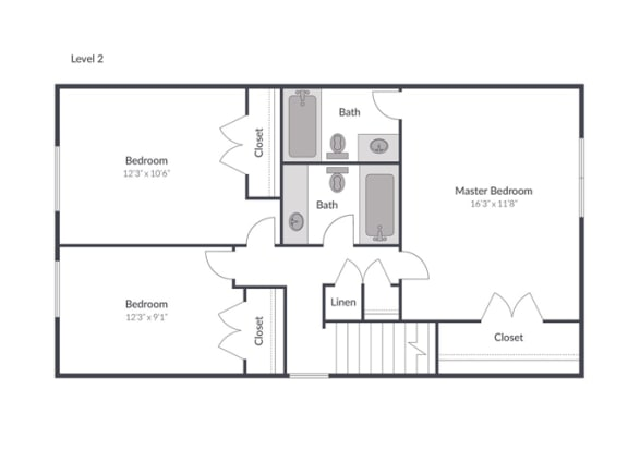 3 Bed 2.5 Bath Townhome Floor Plan at The Brook at Columbia, Columbia, Maryland