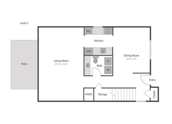 Floor Plan  3 Bedroom 2.5 Bath Townhome Floor Plan at The Brook at Columbia, Maryland