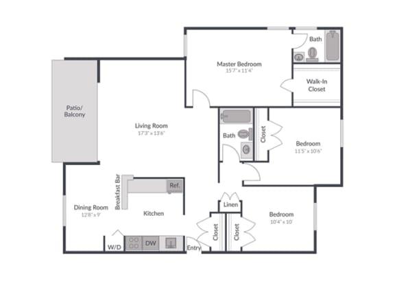 Floor Plan  3 bedroom 2 bath Floor Plan at The Brook at Columbia, Columbia, MD 21044