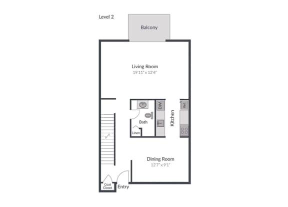 4 Bed 2.5 Bath Floor Plan at The Brook at Columbia, Maryland, 21044