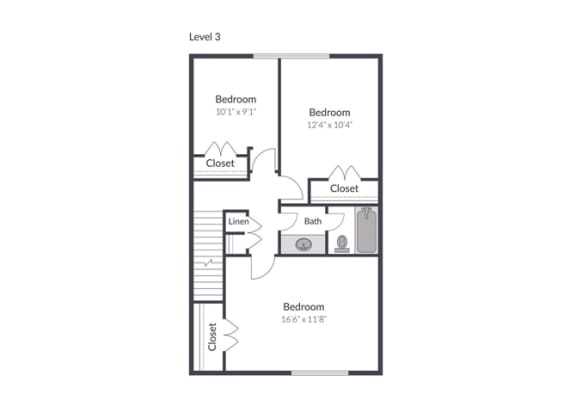 4 Bedroom 2.5 Bath Floor Plan at The Brook at Columbia, Columbia, MD 21044