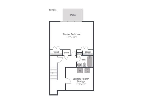 Floor Plan  4 Bedroom 2.5 Bath Townhome Floor Plan at The Brook at Columbia, Columbia, MD