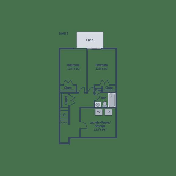 Floor Plan  5 Bedroom 2.5 Bath Townhome Floor Plan at The Brook at Columbia, Maryland