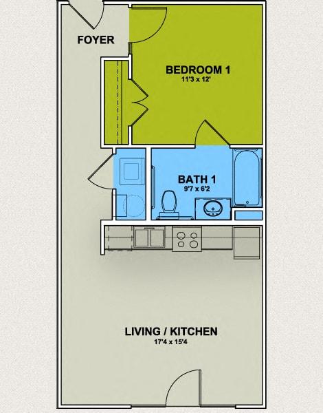 Floor Plan  Image of Aycok Floor Plan 1 Bed 1 Bath