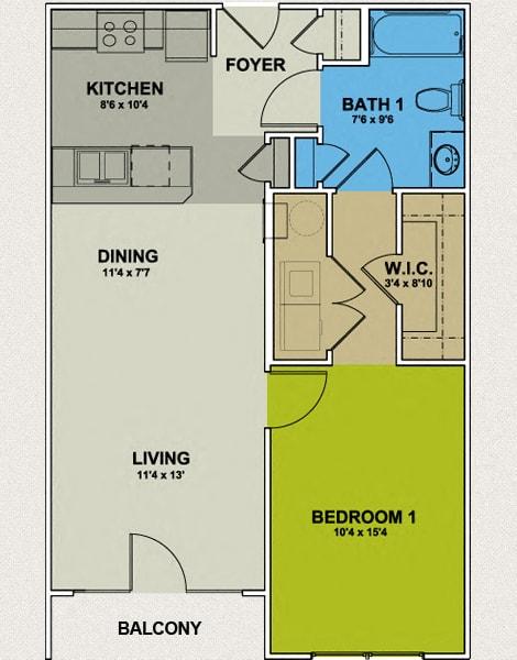 Floor Plan  Image of Bellemeade Floor Plan 1 Bedroom 1 Bath