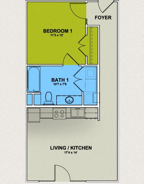 Floor Plan  Image of Westerwood Floor Plan 1 Bed 1 Bath