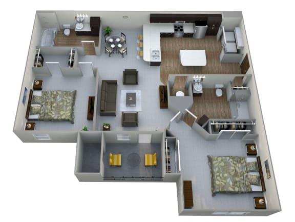 Floor Plan  B1  3D Floor Plan