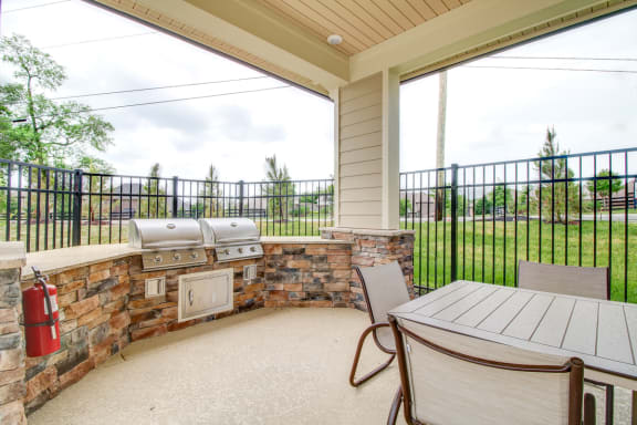 Outdoor Kitchen & Poolside Dining Area at The Edison at Peytona, Gallatin, Tennessee