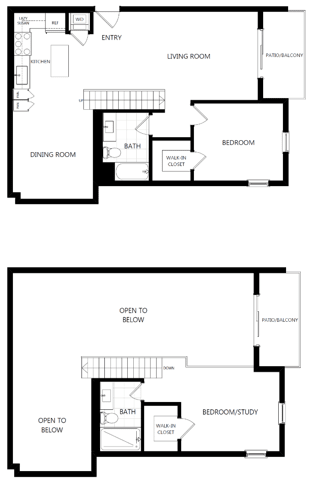 unit 209_2 bedroom loft at The Mansfield at Miracle Mile, Los Angeles, CA, 90036