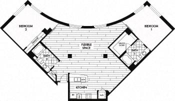 Floor Plan  Floor plan at Trio Apartments, California