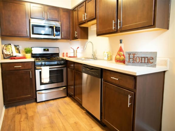 Fully Furnished Kitchen With Stainless Steel Appliances at The Greenway at Carol Stream, Illinois, 60188