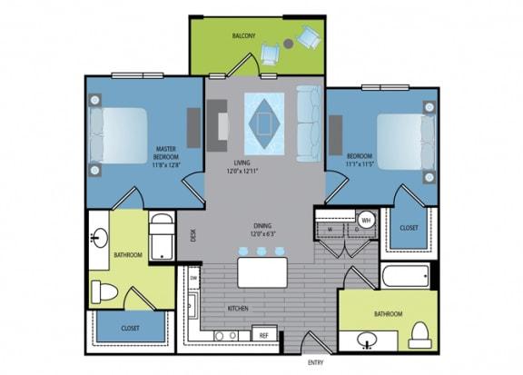 Floor Plan  Floor plan at The Encore Apartments, Texas