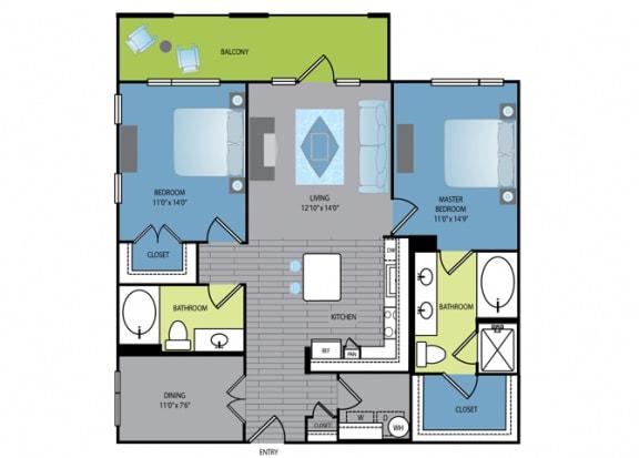 Floor Plan  Floor plan at The Encore Apartments, Texas, 75024
