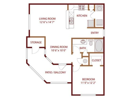 Floor Plan  Floor plan at The Greens of Fossil Lake, Fort Worth, 76137