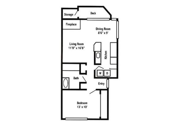 1 Bed 1 Bath Floor Plan at Sorrento Bluff, Oregon, 97008