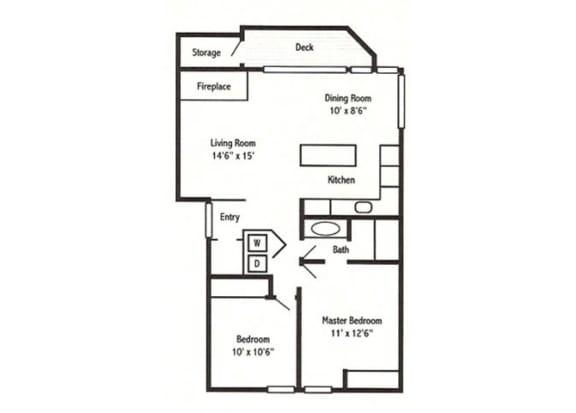 2 Bed 1 Bath Floor Plan at Sorrento Bluff, Beaverton, 97008