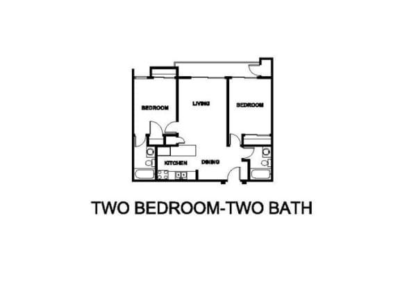 Floor Plan  Two Bedroom Two Bath Floor plan at Renaissance Terrace, Long Beach, CA