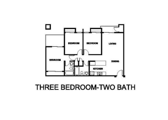 Floor Plan  Two Bedroom Two Bath Floor plan at Renaissance Terrace, Long Beach, 90813