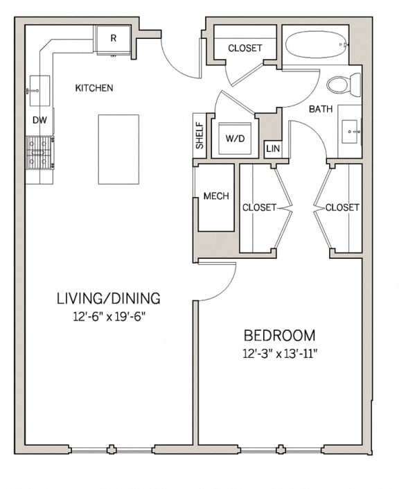 Floor Plan  1 Bed 1 Bath A12 at AVE King of Prussia, King of Prussia, 19406