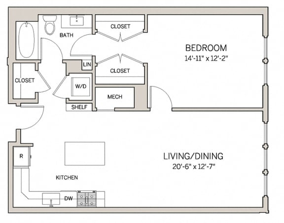 Floor Plan  1 Bed 1 Bath A13 at AVE King of Prussia, King of Prussia, PA