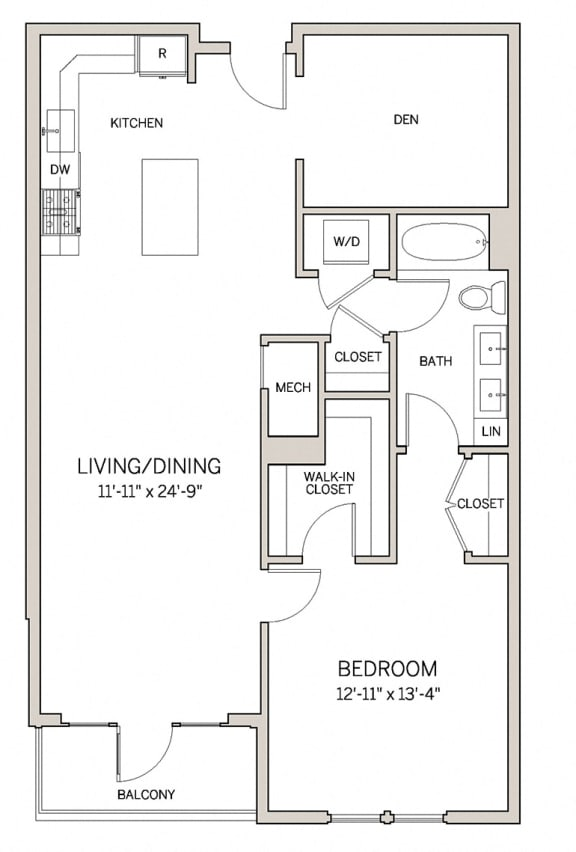 Floor Plan  1 Bed 1 Bath Den A20D at AVE King of Prussia, King of Prussia, PA, 19406